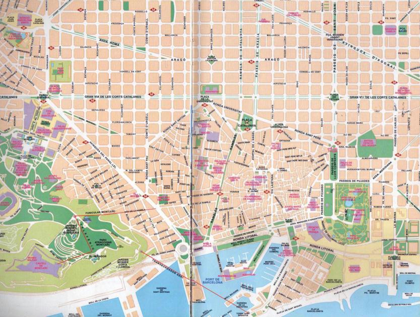 Cartina Turistica Spagna.Mappa Del Centro Di Barcellona Spagna