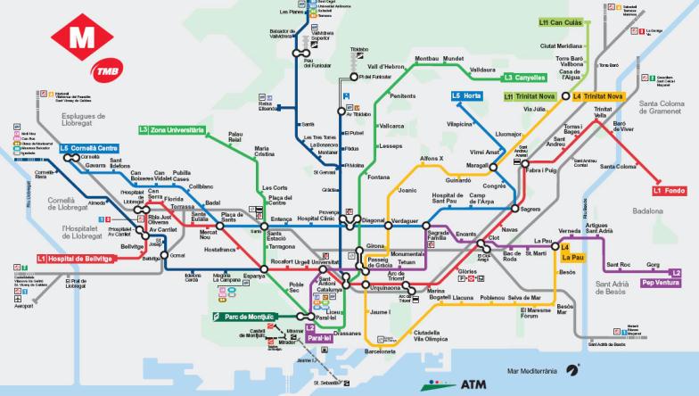 Cartina Metro Barcellona.Metropolitana Di Barcellona Spagna Mappa Di Tutte Le Stazioni Della Metropolitana