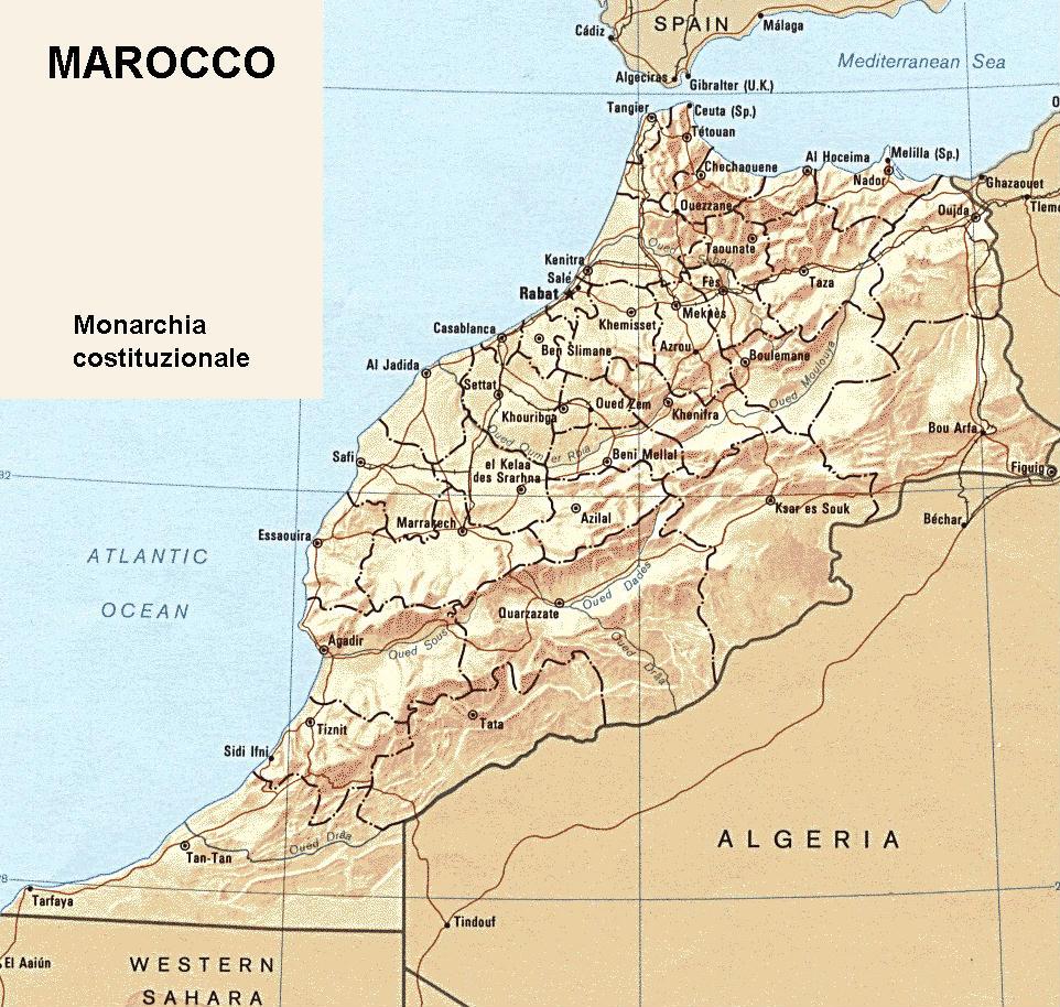 Marocco Cartina Geografica Fisica.Cartina Geografica Politica Del Marocco