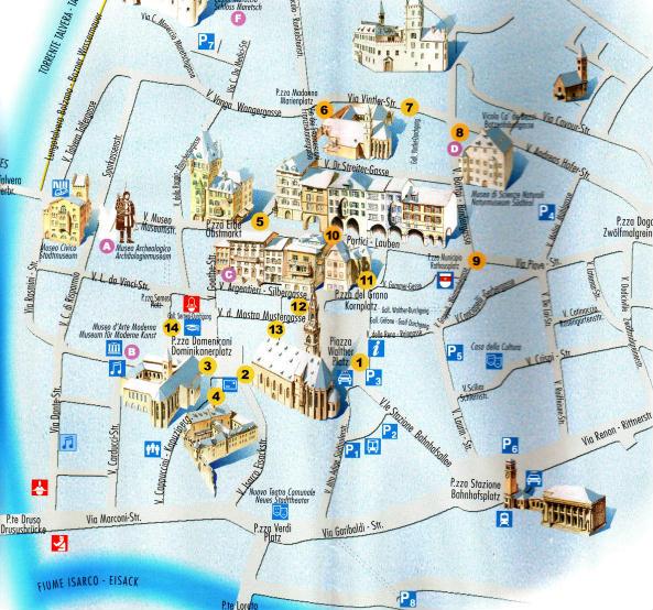Bolzano Cartina.Mappa Del Centro Di Bolzano Trentino Alto Adige Italia