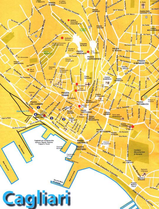 Cartina Geografica Di Cagliari.Mappa Del Centro Di Cagliari Sardegna Italia
