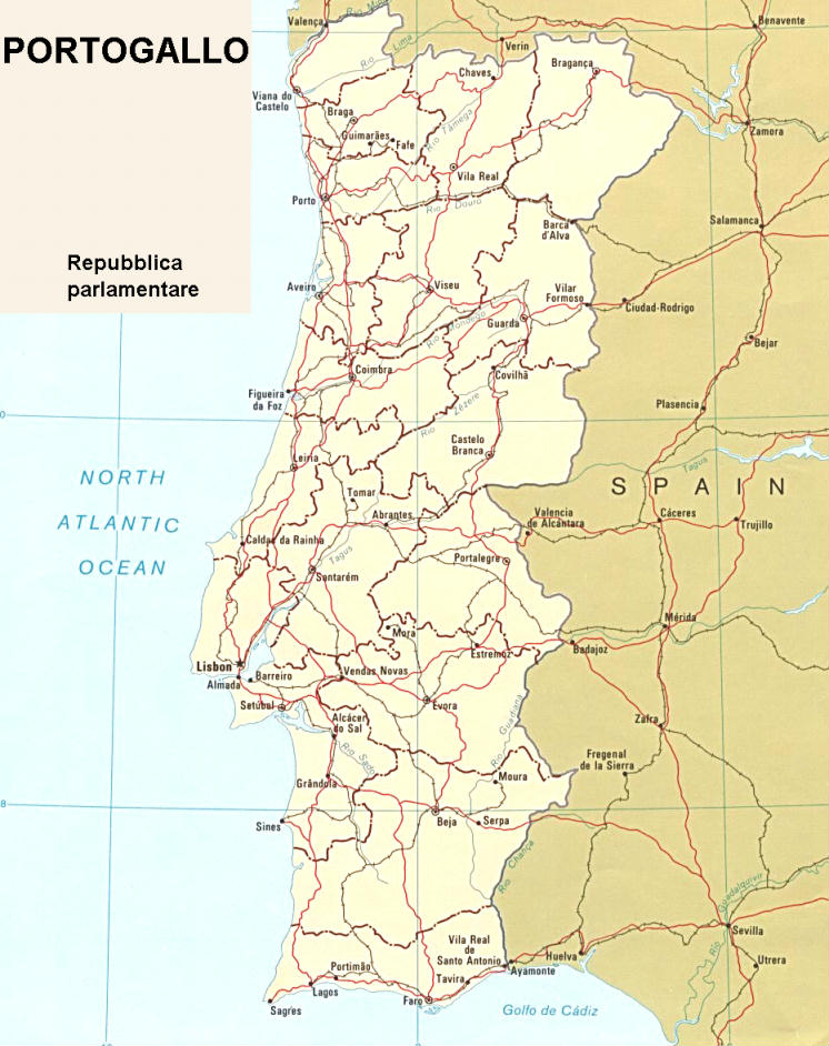 Portogallo Fisica Cartina.Cartina Geografica Politica Del Portogallo