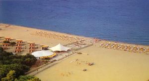 Cartolina di Marina di Sibari (CS) - veduta aerea della spiaggia