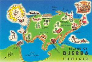Cartolina-cartina di Djerba