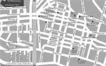 Mappa del centro di Glasgow in bianco e nero