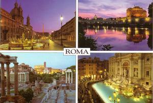 Cartolina illustrativa di Roma