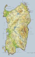 Cartina fisica della Sardegna