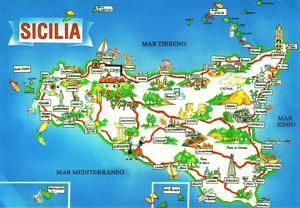 Sicilia italia diario di viaggio di avola noto siracusa e taormina cartolina cartina della sicilia thecheapjerseys Gallery