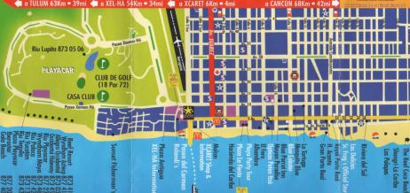 Mappa del centro di Playa del Carmen
