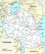Cartina politica della Tanzania