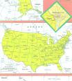 Cartina politica degli Stati Uniti d'America (U.S.A.)