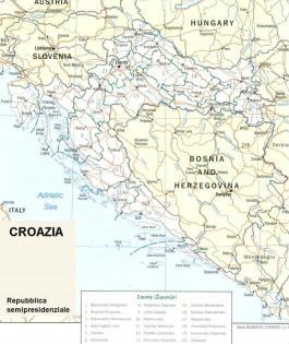 Cartina politica della Croazia