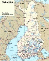 Cartina politica della Finlandia